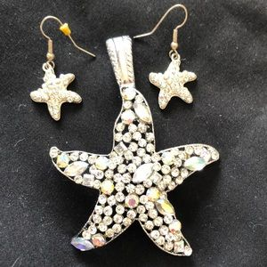 Iridescent jewelled starfish pendant and earrings